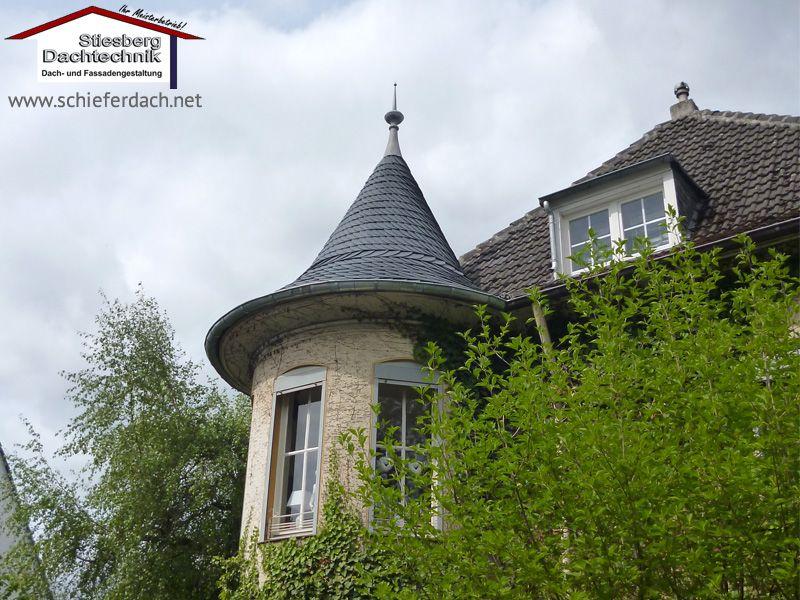 Neue Turmeindeckung aus Naturschiefer eines denkmalgeschützten Gebäudes in Dortmund 1/3