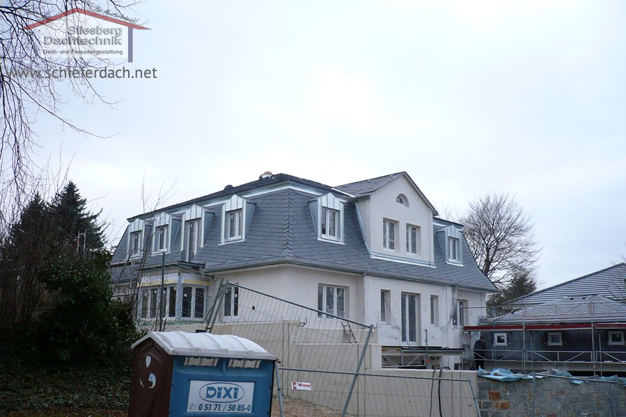 Neubau Villa 2 - Schieferdach Eindeckung
