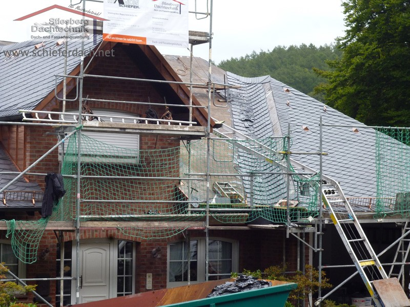 slate roof of a large family home